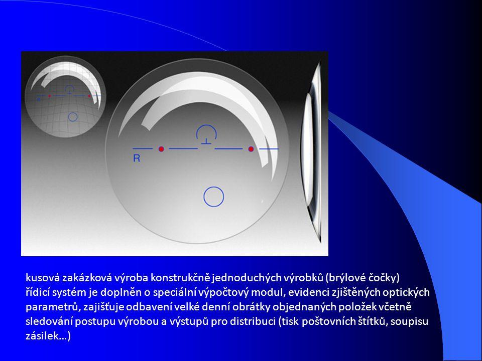 kusová zakázková výroba konstrukčně jednoduchých výrobků (brýlové čočky) řídicí systém je doplněn o speciální výpočtový modul, evidenci zjištěných optických parametrů, zajišťuje odbavení velké denní obrátky objednaných položek včetně sledování postupu výrobou a výstupů pro distribuci (tisk poštovních štítků, soupisu zásilek…)