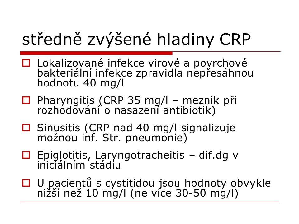 středně zvýšené hladiny CRP