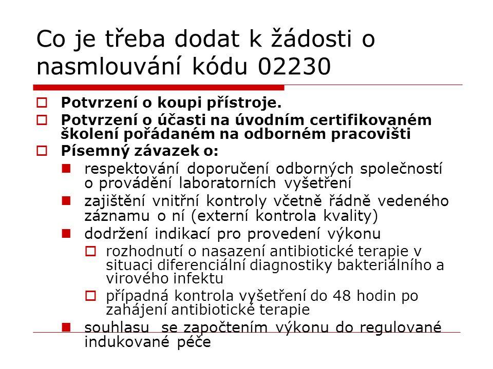 Co je třeba dodat k žádosti o nasmlouvání kódu 02230