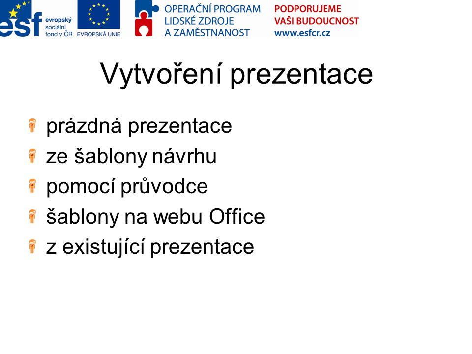Vytvoření prezentace prázdná prezentace ze šablony návrhu