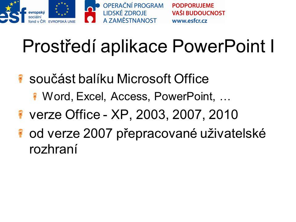 Prostředí aplikace PowerPoint I