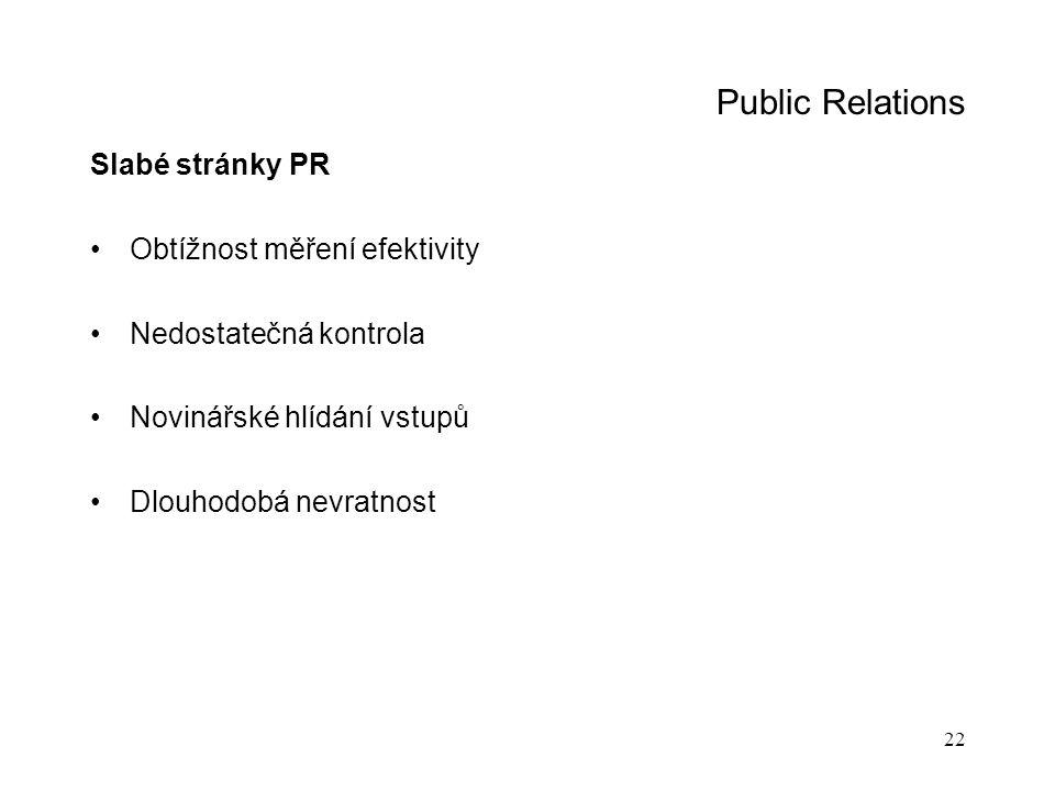 Public Relations Slabé stránky PR Obtížnost měření efektivity
