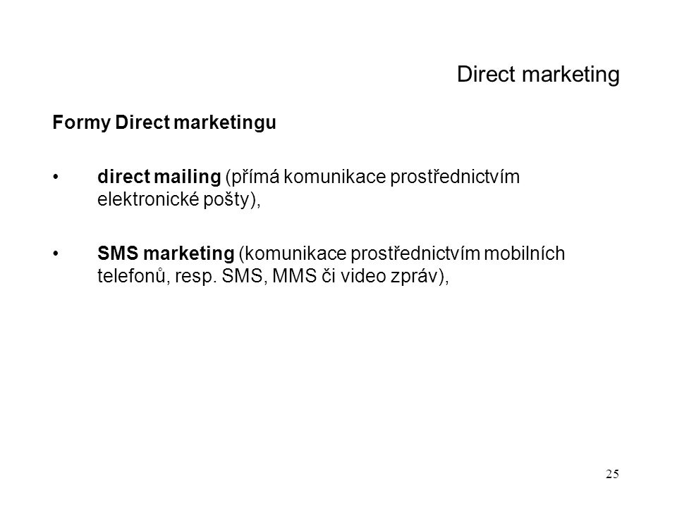 Direct marketing Formy Direct marketingu