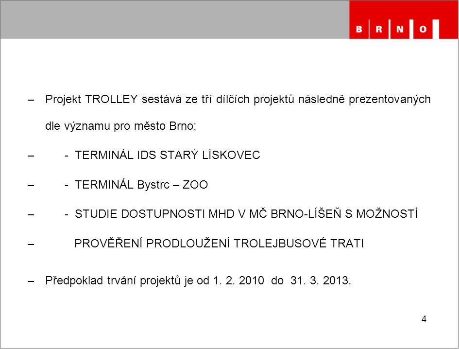 Projekt TROLLEY sestává ze tří dílčích projektů následně prezentovaných dle významu pro město Brno: