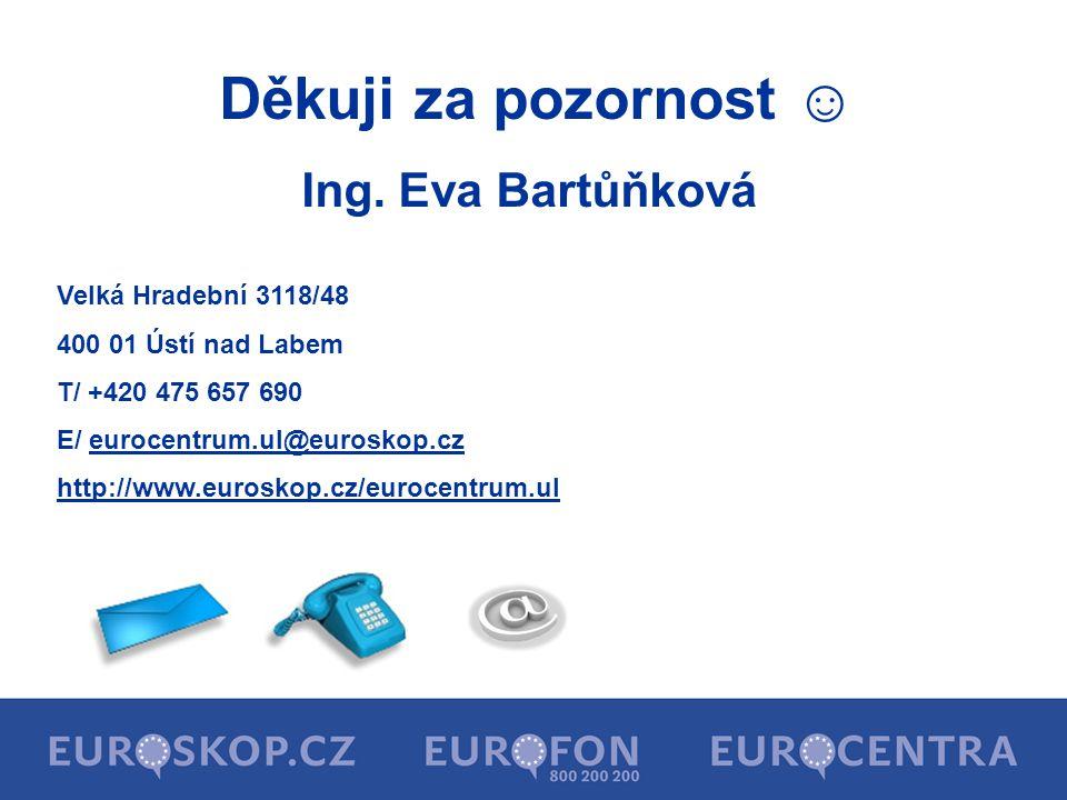 Děkuji za pozornost ☺ Ing. Eva Bartůňková Velká Hradební 3118/48