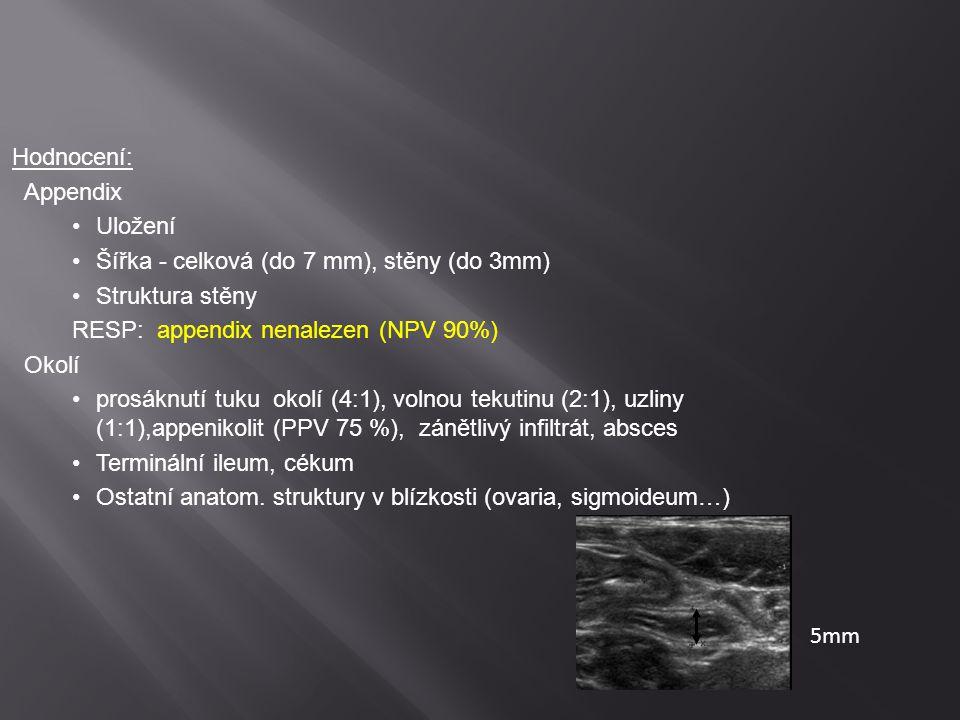 Hodnocení: Appendix. Uložení. Šířka - celková (do 7 mm), stěny (do 3mm) Struktura stěny. RESP: appendix nenalezen (NPV 90%)