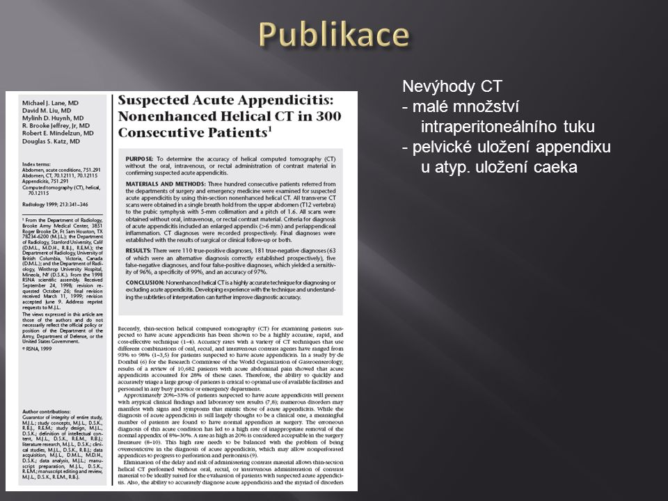 Publikace Nevýhody CT malé množství intraperitoneálního tuku