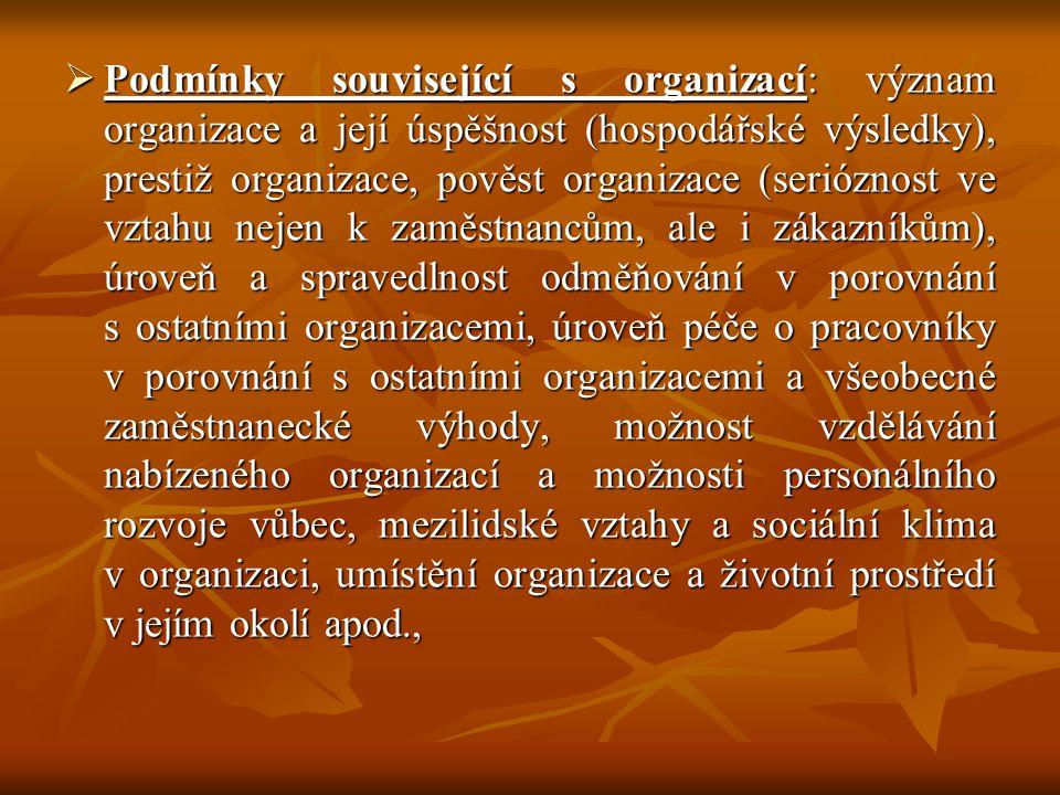 Podmínky související s organizací: význam organizace a její úspěšnost (hospodářské výsledky), prestiž organizace, pověst organizace (serióznost ve vztahu nejen k zaměstnancům, ale i zákazníkům), úroveň a spravedlnost odměňování v porovnání s ostatními organizacemi, úroveň péče o pracovníky v porovnání s ostatními organizacemi a všeobecné zaměstnanecké výhody, možnost vzdělávání nabízeného organizací a možnosti personálního rozvoje vůbec, mezilidské vztahy a sociální klima v organizaci, umístění organizace a životní prostředí v jejím okolí apod.,