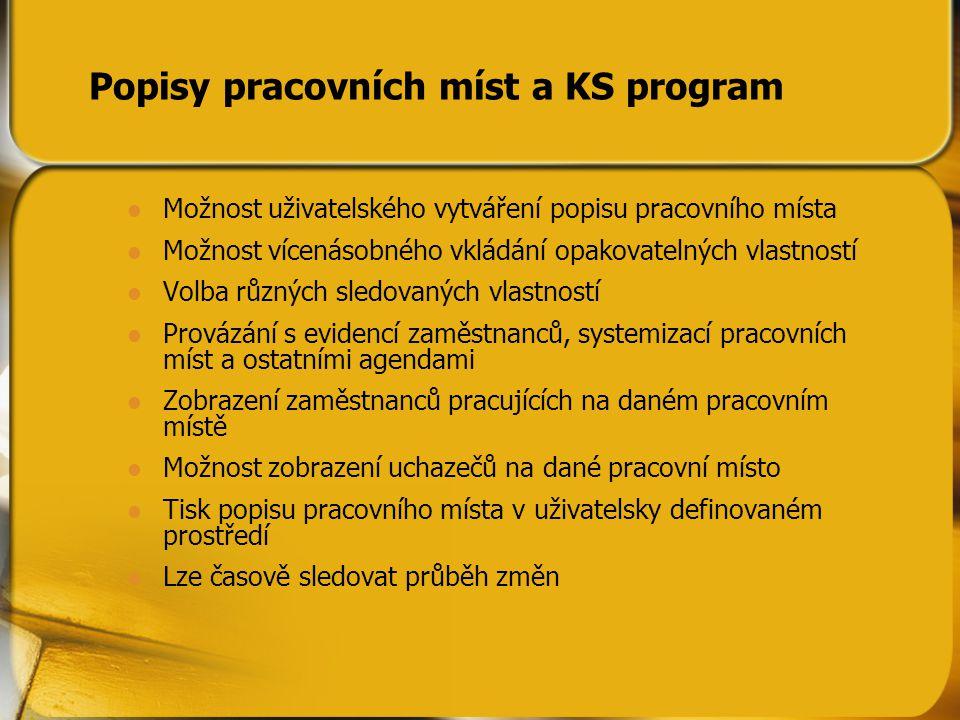 Popisy pracovních míst a KS program