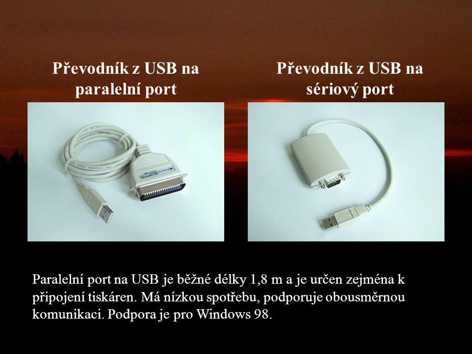 Převodník z USB na paralelní port Převodník z USB na sériový port