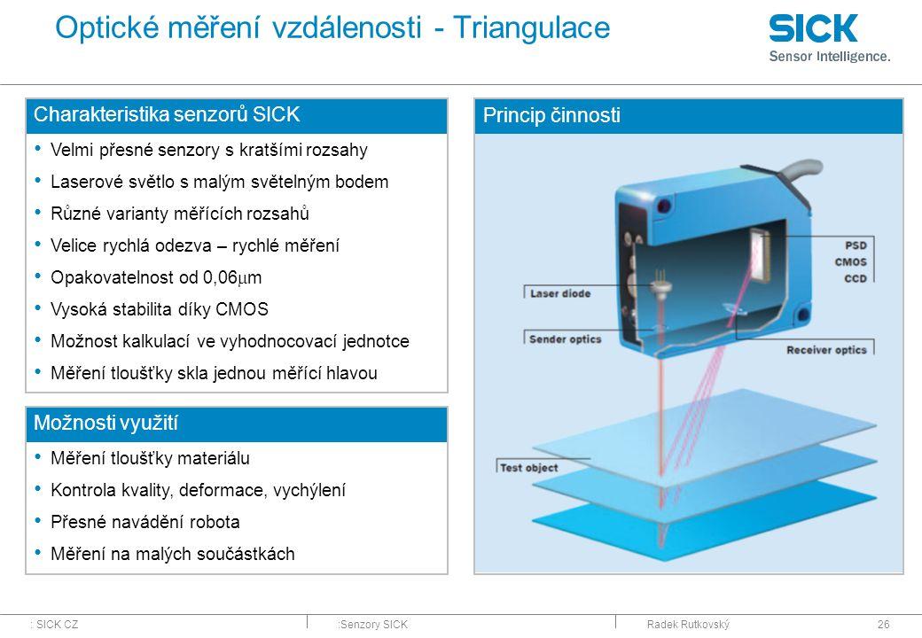 Optické měření vzdálenosti - Triangulace