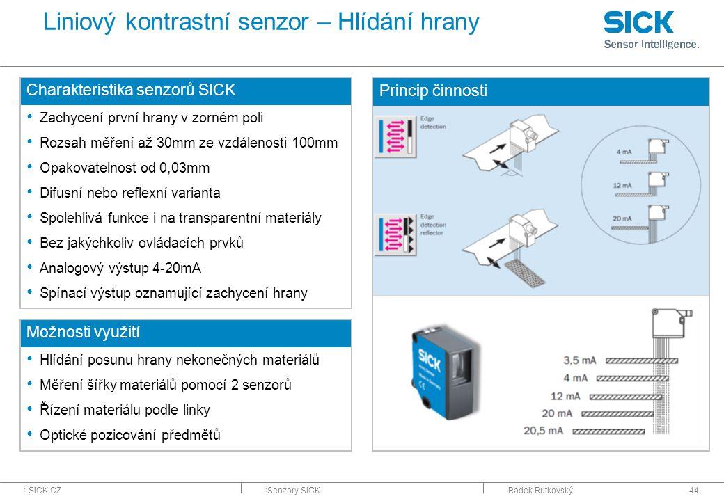 Liniový kontrastní senzor – Hlídání hrany