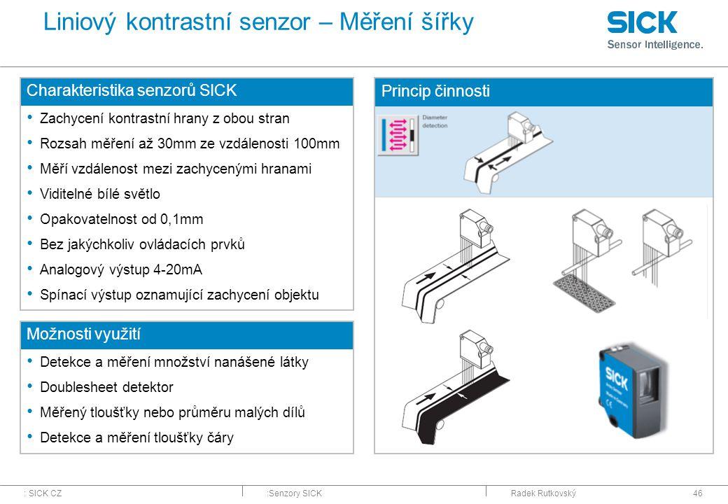 Liniový kontrastní senzor – Měření šířky