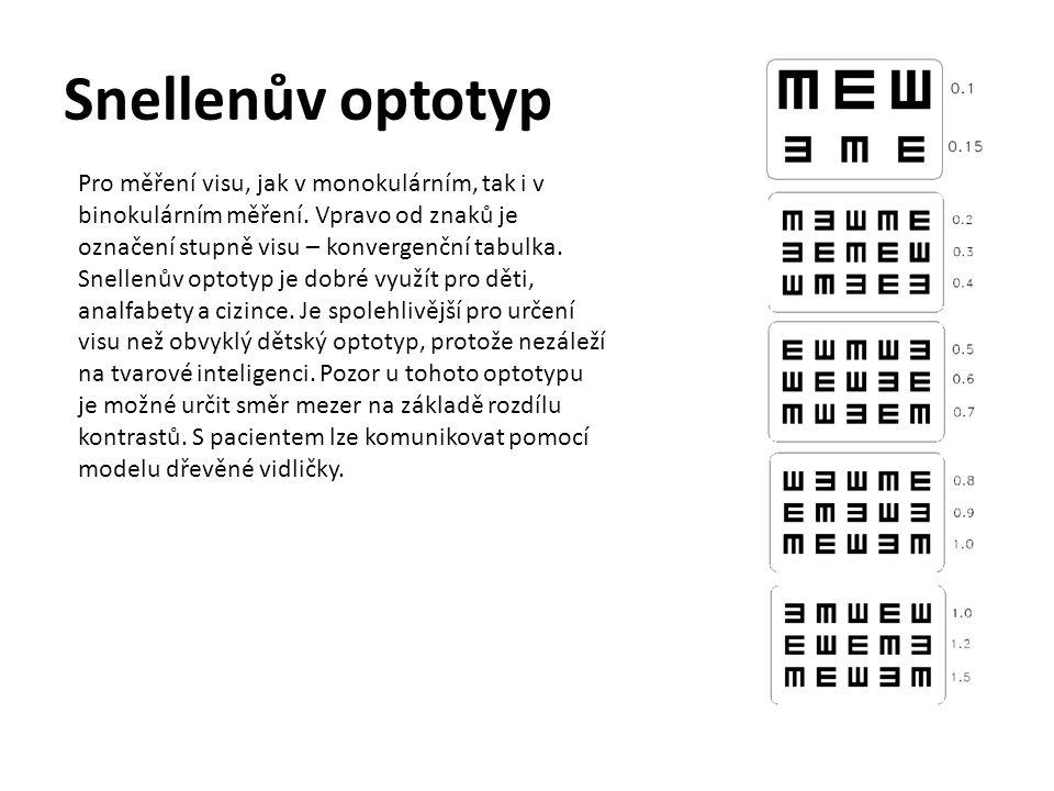 Snellenův optotyp Pro měření visu, jak v monokulárním, tak i v binokulárním měření. Vpravo od znaků je označení stupně visu – konvergenční tabulka.