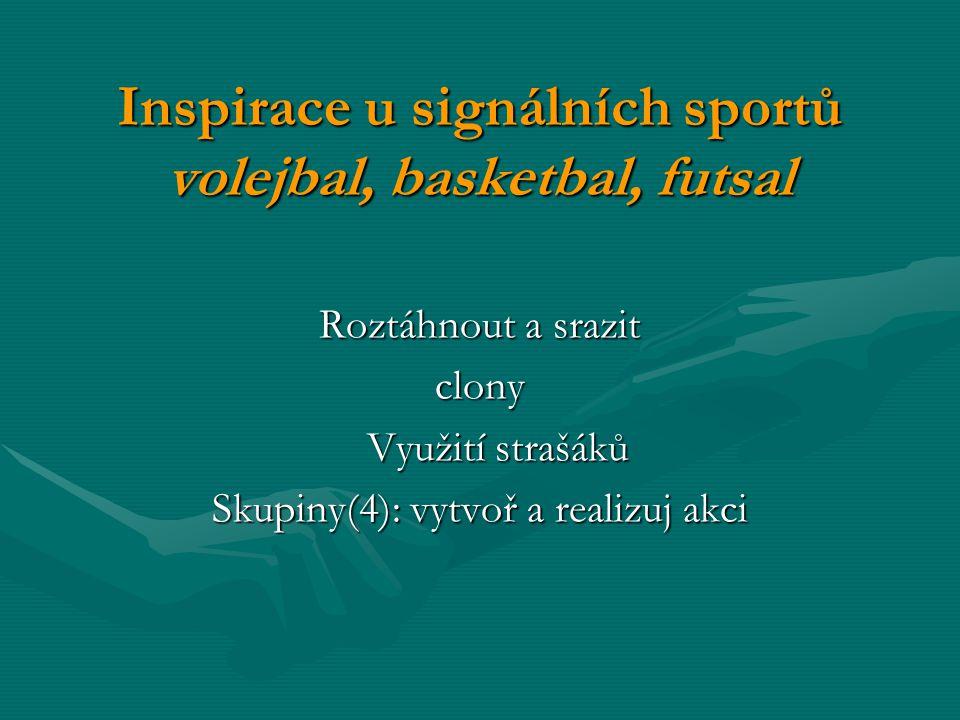 Inspirace u signálních sportů volejbal, basketbal, futsal