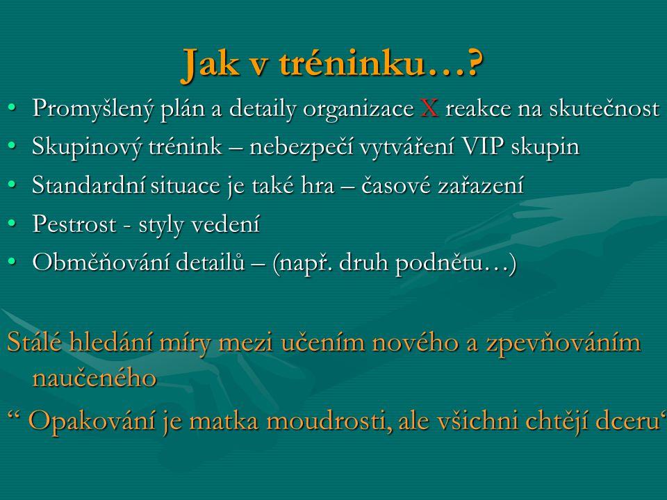 Jak v tréninku… Promyšlený plán a detaily organizace X reakce na skutečnost. Skupinový trénink – nebezpečí vytváření VIP skupin.