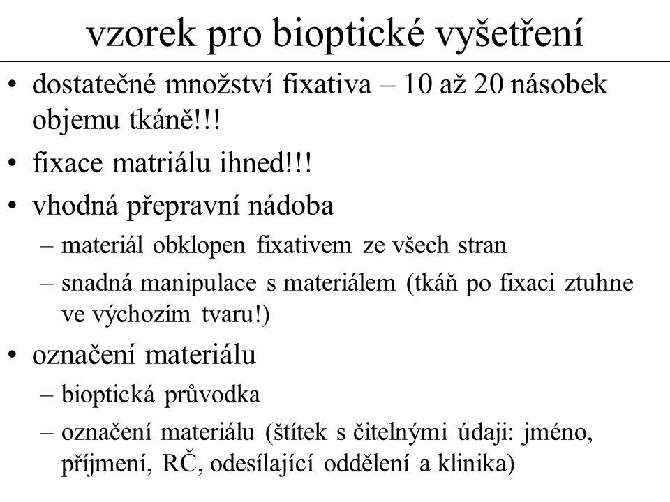 vzorek pro bioptické vyšetření