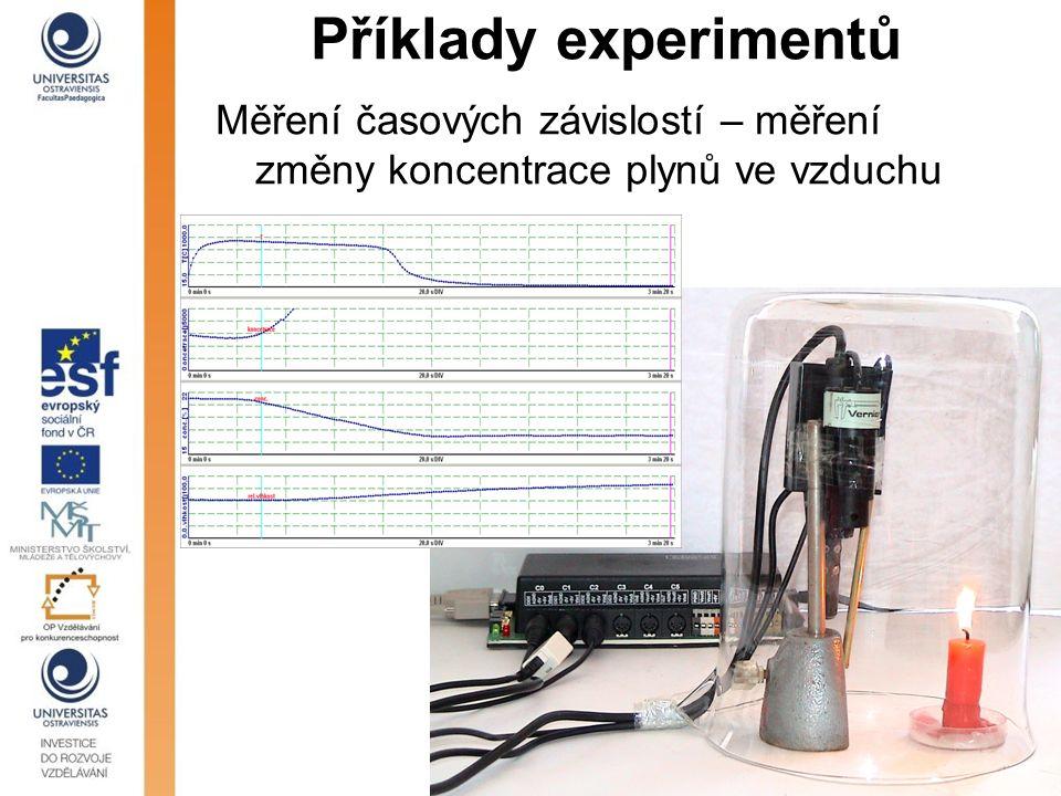 Příklady experimentů Měření časových závislostí – měření změny koncentrace plynů ve vzduchu