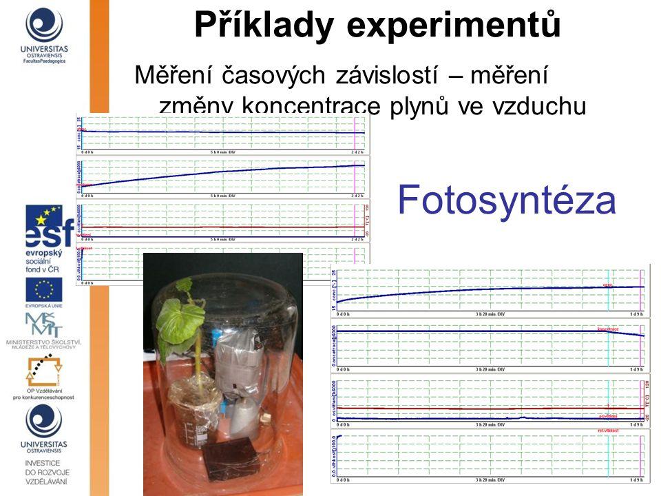 Fotosyntéza Příklady experimentů