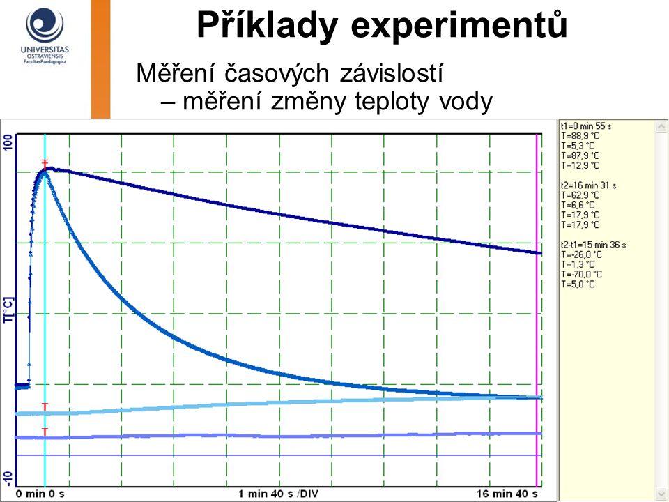 Příklady experimentů Měření časových závislostí – měření změny teploty vody
