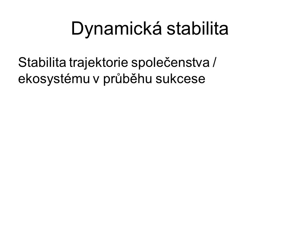 Dynamická stabilita Stabilita trajektorie společenstva / ekosystému v průběhu sukcese