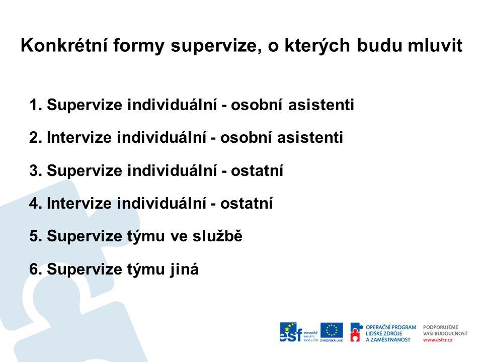 Konkrétní formy supervize, o kterých budu mluvit