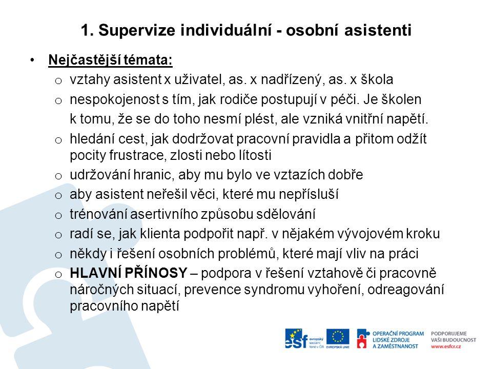 1. Supervize individuální - osobní asistenti