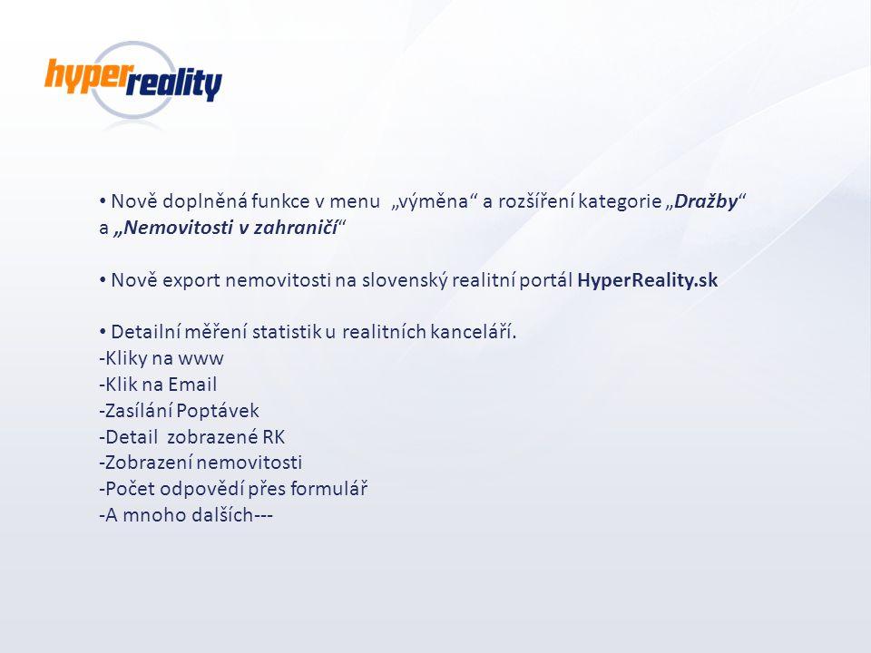 """Nově doplněná funkce v menu """"výměna a rozšíření kategorie """"Dražby a """"Nemovitosti v zahraničí"""