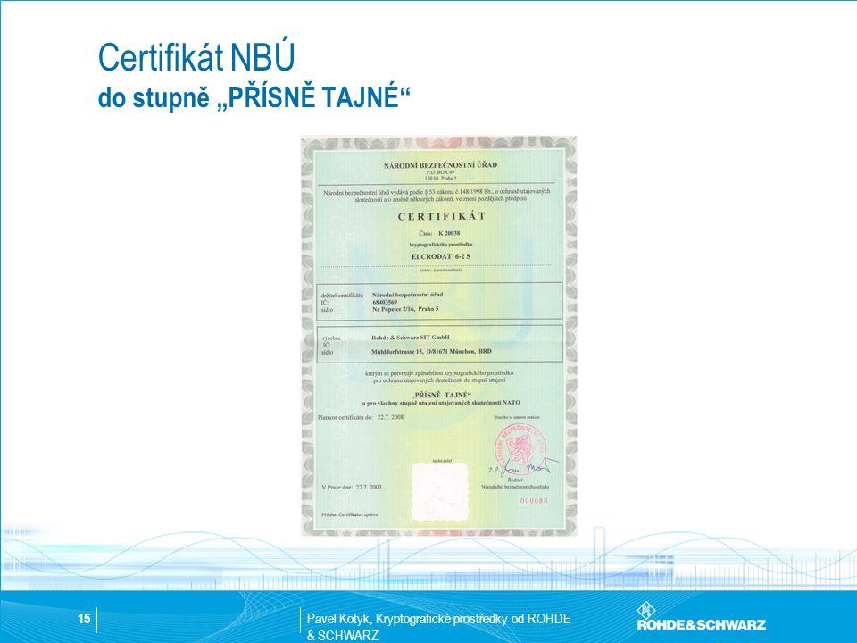 """Certifikát NBÚ do stupně """"PŘÍSNĚ TAJNÉ"""