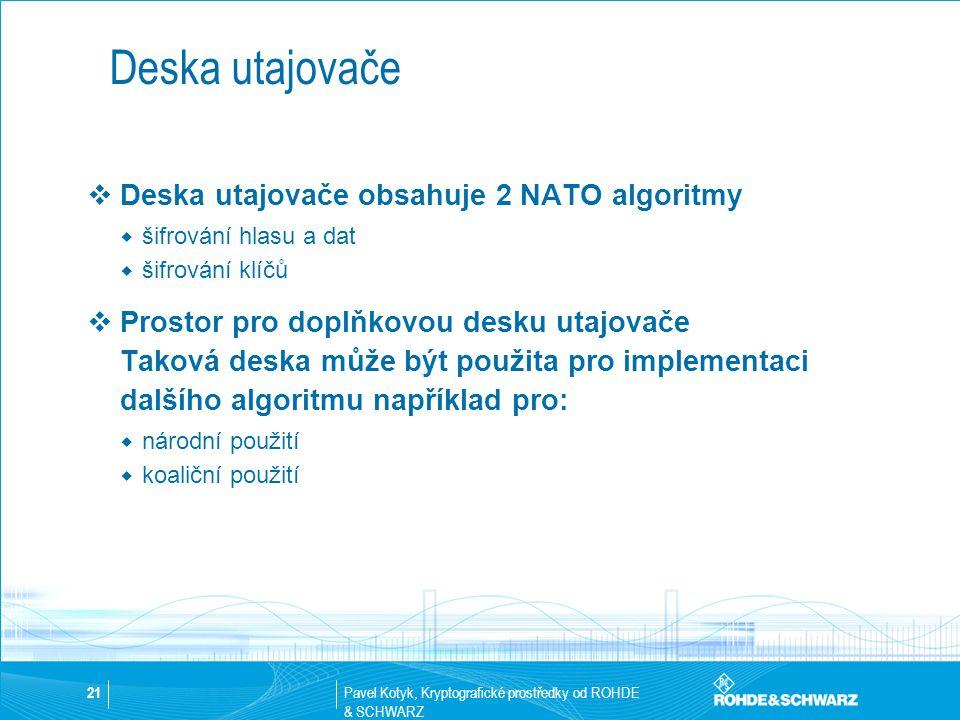 Deska utajovače Deska utajovače obsahuje 2 NATO algoritmy