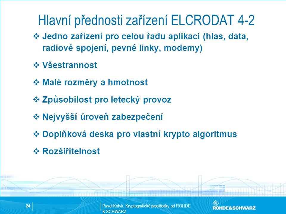 Hlavní přednosti zařízení ELCRODAT 4-2