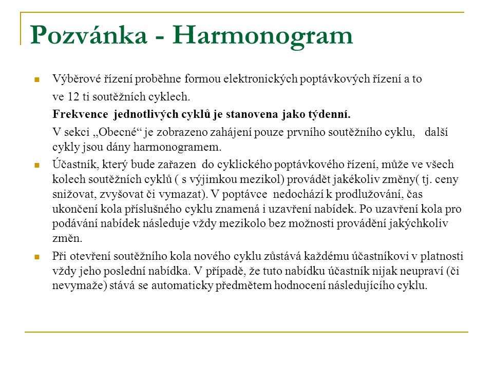 Pozvánka - Harmonogram