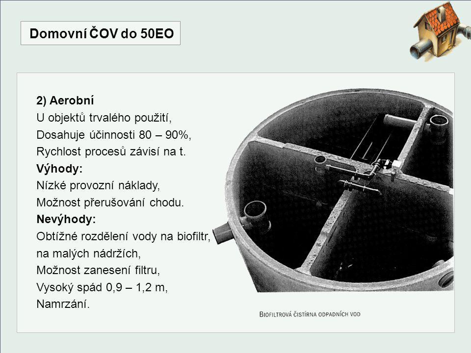 Domovní ČOV do 50EO 2) Aerobní U objektů trvalého použití,