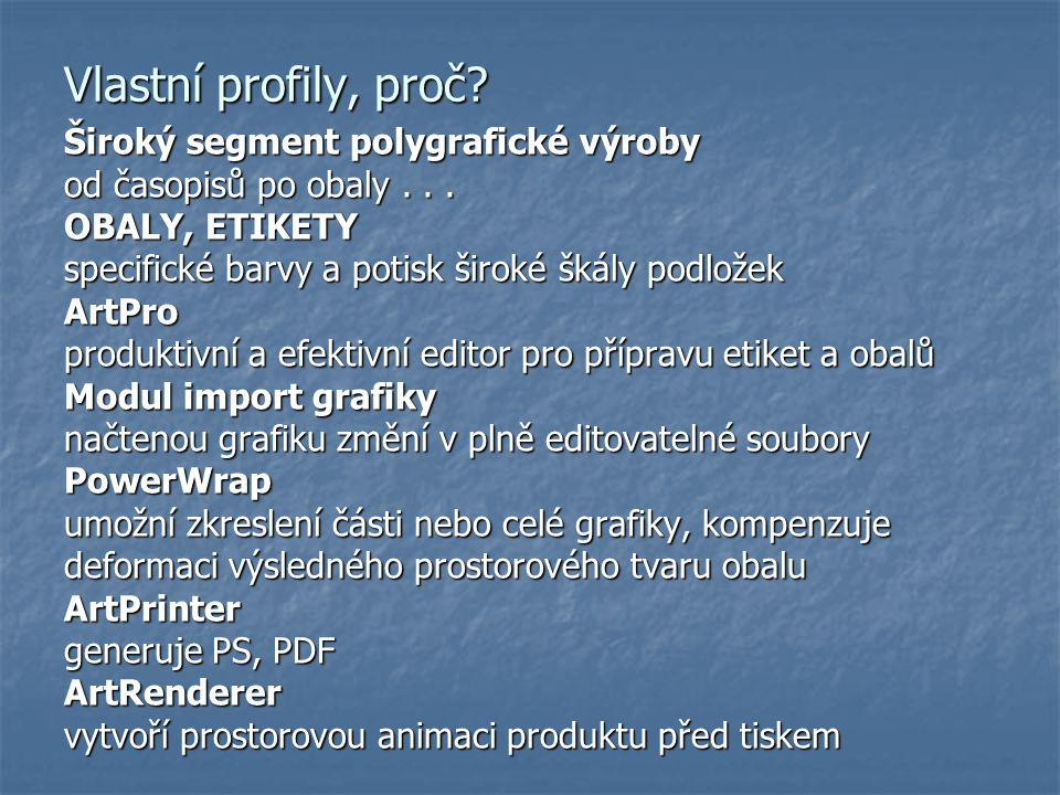 Vlastní profily, proč Široký segment polygrafické výroby