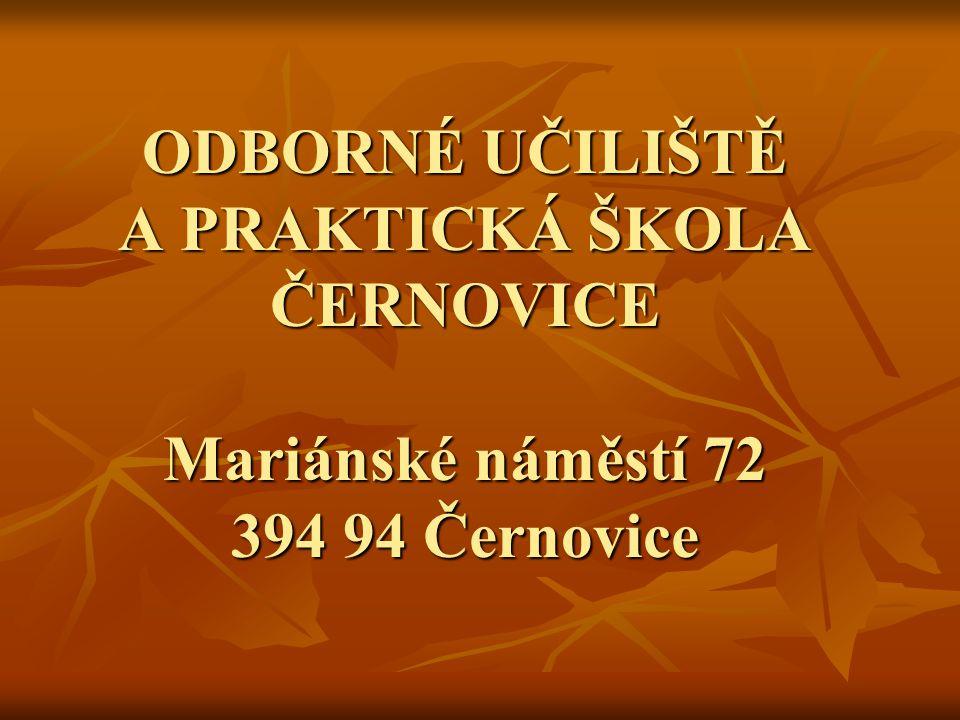 ODBORNÉ UČILIŠTĚ A PRAKTICKÁ ŠKOLA ČERNOVICE Mariánské náměstí 72 394 94 Černovice