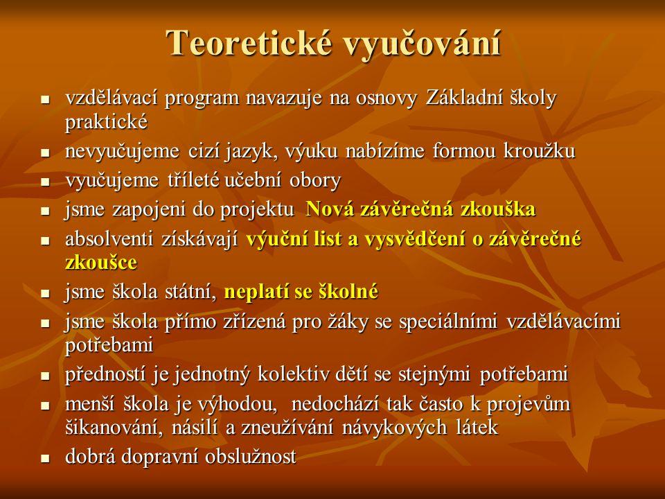 Teoretické vyučování vzdělávací program navazuje na osnovy Základní školy praktické. nevyučujeme cizí jazyk, výuku nabízíme formou kroužku.