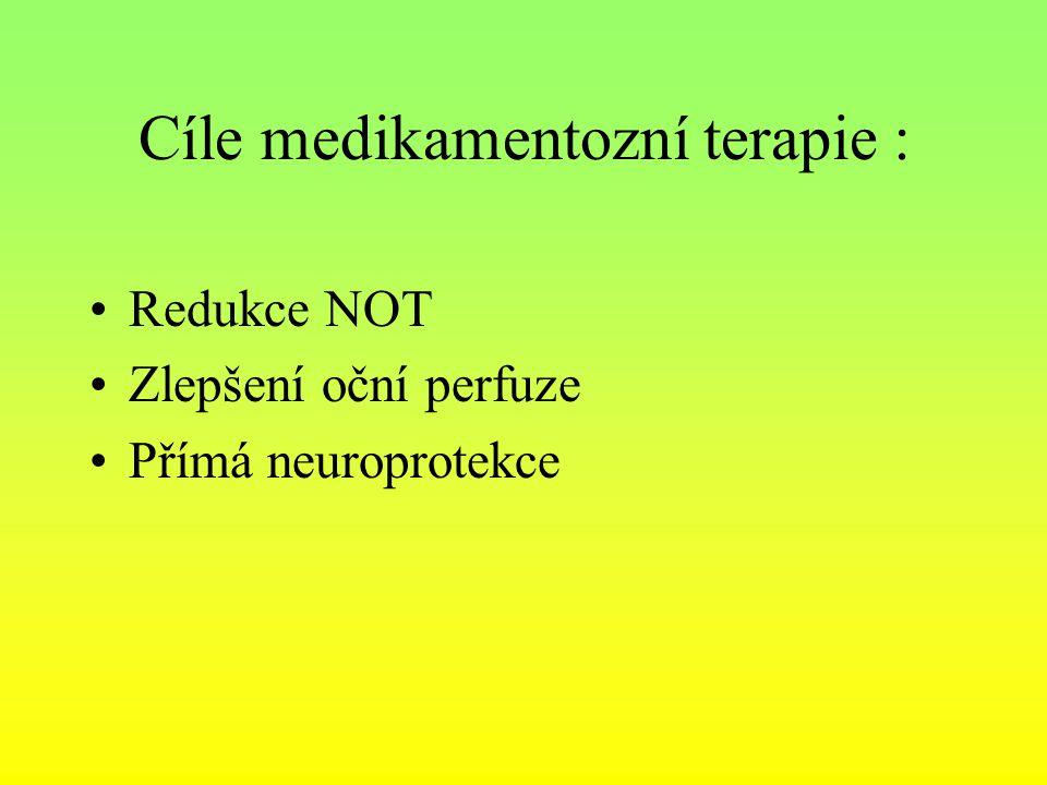 Cíle medikamentozní terapie :