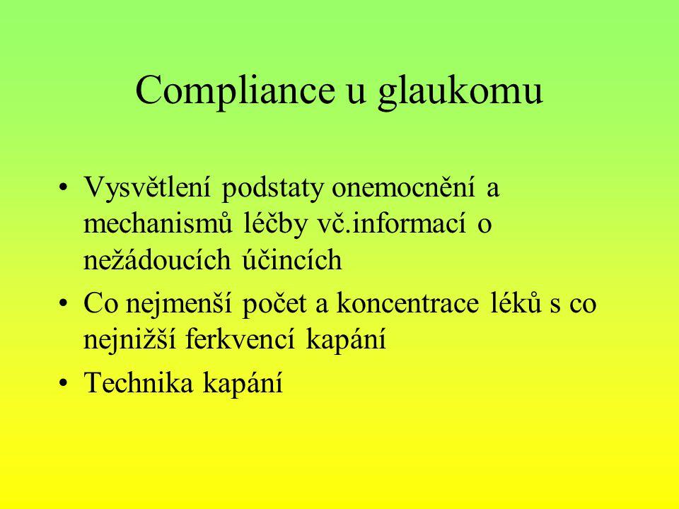 Compliance u glaukomu Vysvětlení podstaty onemocnění a mechanismů léčby vč.informací o nežádoucích účincích.