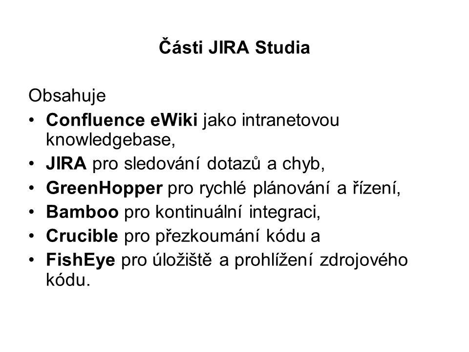 Části JIRA Studia Obsahuje. Confluence eWiki jako intranetovou knowledgebase, JIRA pro sledování dotazů a chyb,