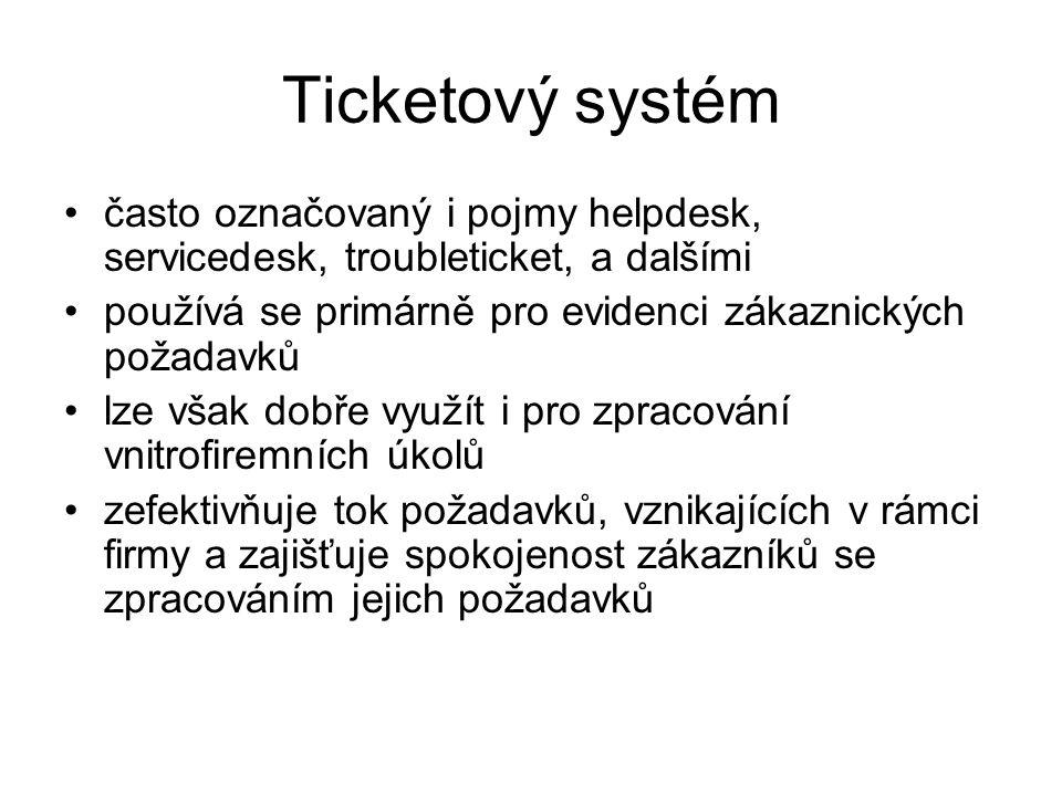 Ticketový systém často označovaný i pojmy helpdesk, servicedesk, troubleticket, a dalšími. používá se primárně pro evidenci zákaznických požadavků.