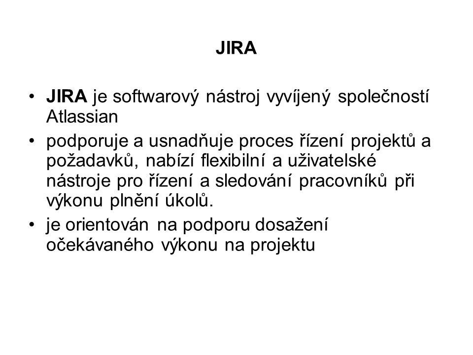 JIRA JIRA je softwarový nástroj vyvíjený společností Atlassian.