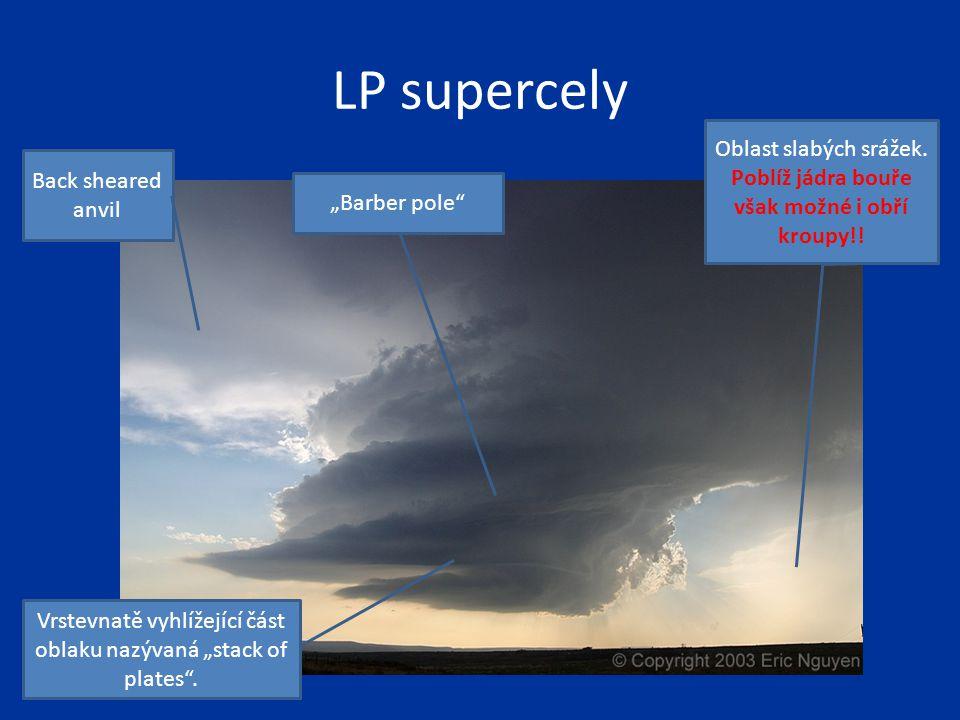 LP supercely Oblast slabých srážek. Poblíž jádra bouře však možné i obří kroupy!! Back sheared anvil.