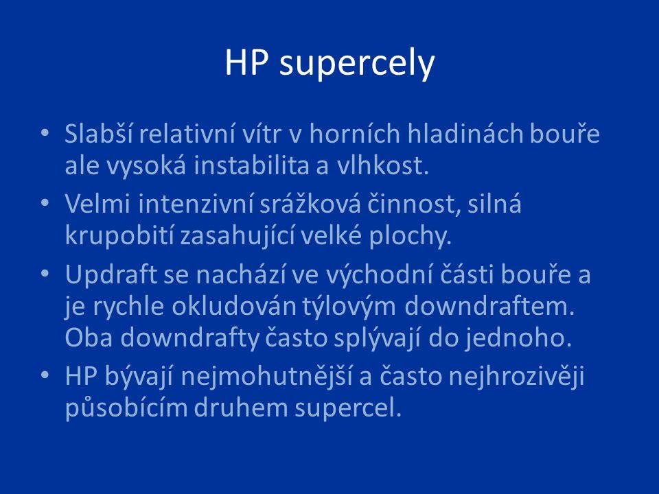 HP supercely Slabší relativní vítr v horních hladinách bouře ale vysoká instabilita a vlhkost.
