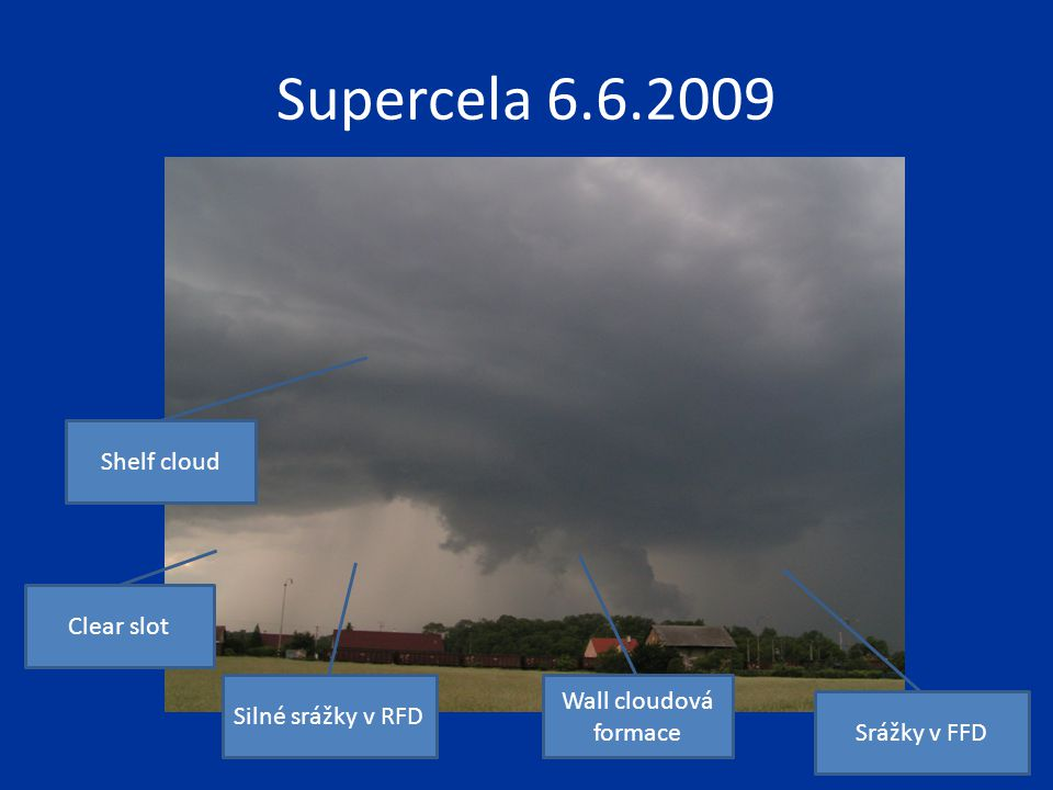 Supercela 6.6.2009 Shelf cloud Clear slot Wall cloudová formace