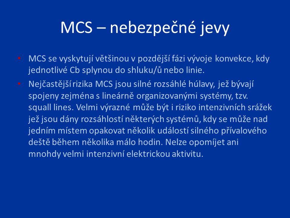 MCS – nebezpečné jevy MCS se vyskytují většinou v pozdější fázi vývoje konvekce, kdy jednotlivé Cb splynou do shluku/ů nebo linie.