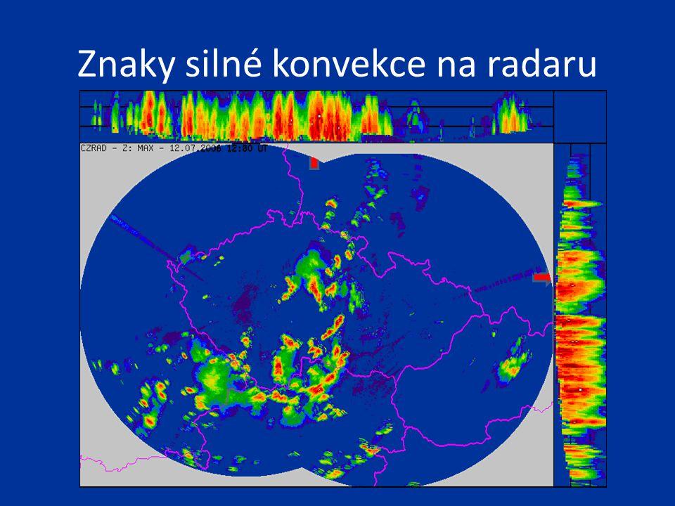 Znaky silné konvekce na radaru