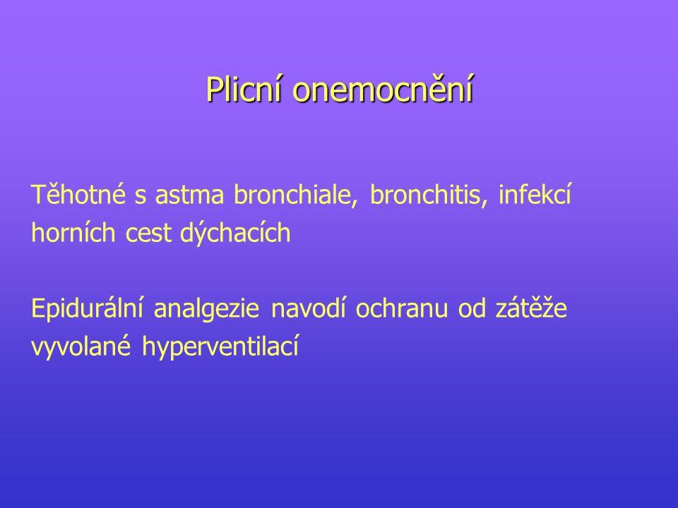 Plicní onemocnění Těhotné s astma bronchiale, bronchitis, infekcí