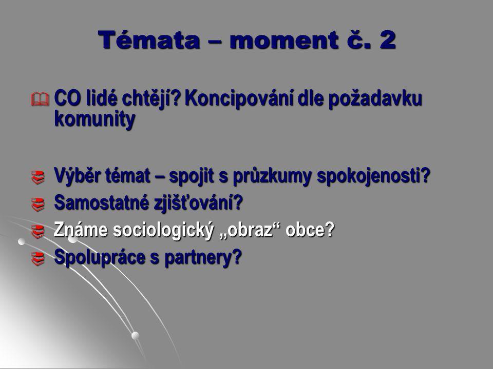 Témata – moment č. 2 CO lidé chtějí Koncipování dle požadavku komunity. Výběr témat – spojit s průzkumy spokojenosti