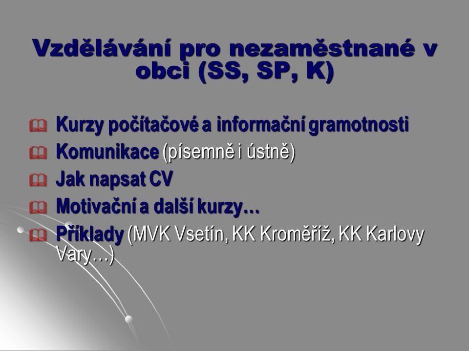 Vzdělávání pro nezaměstnané v obci (SS, SP, K)