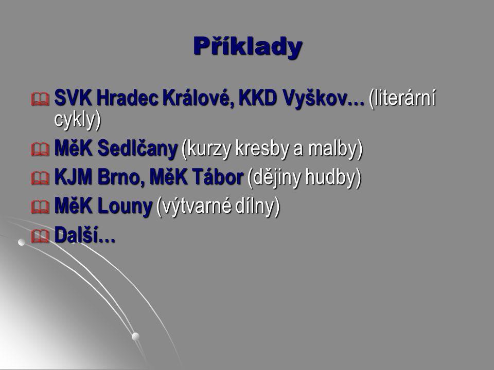 Příklady SVK Hradec Králové, KKD Vyškov… (literární cykly)